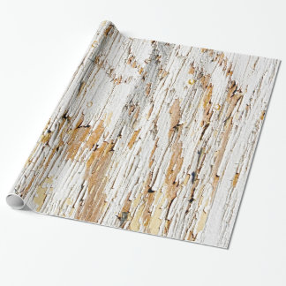 Peeling Paint on Aged Wood Abstract Photography Wrapping Paper