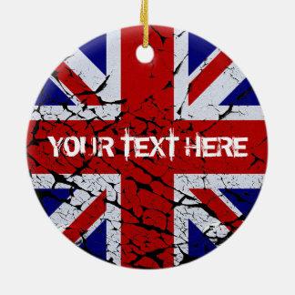 Peeling Union Jack Flag of The UK Round Ceramic Decoration