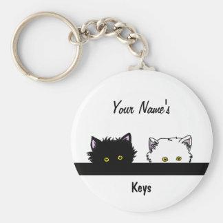Peeping Kittens Basic Round Button Key Ring