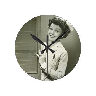 Peeping Nurse Round Clock
