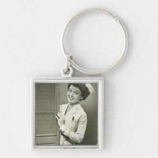 Peeping Nurse Silver-Colored Square Key Ring