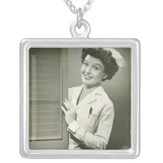 Peeping Nurse Silver Plated Necklace