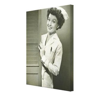 Peeping Nurse Stretched Canvas Prints