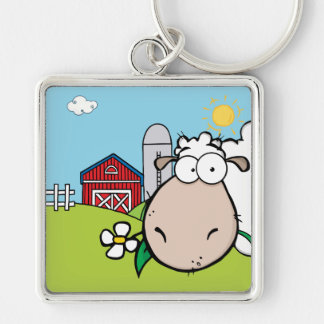 Peeping Sheep Silver-Colored Square Key Ring