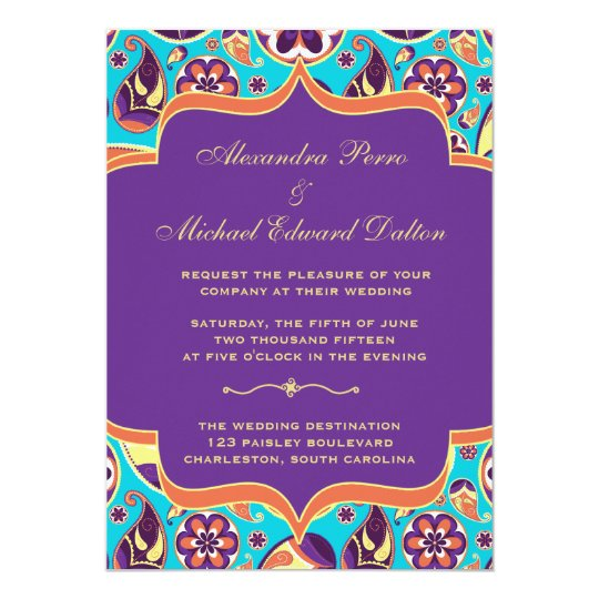 Peerless Paisley Orange & Aqua Wedding Invitation