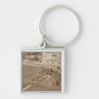 Peerless Vineyard, Hanford, Cal Silver-Colored Square Key Ring