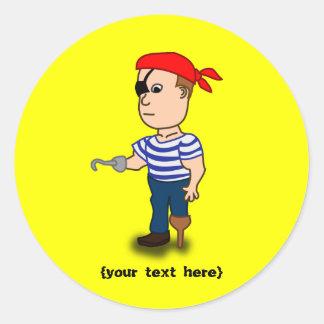Peg-leg Pirate Round Sticker