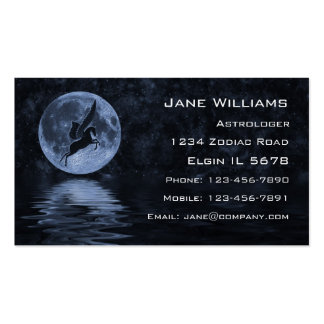 Pegasus flying before Moon Business Card Template