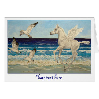 Pegasus Horse & Sea Gulls Fantasy greeting card