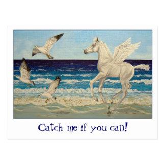 Pegasus Horse Sea Gulls Fantasy postcard