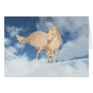 Pegasus Looking Down Through Clouds Card