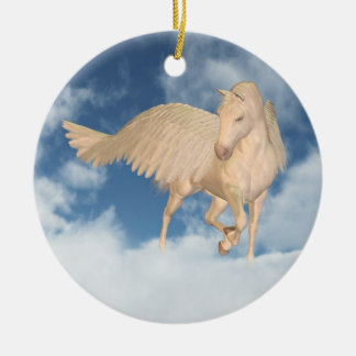 Pegasus Looking Down Through Clouds Christmas Ornament
