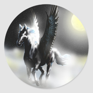 Pegasus of the Moon Classic Round Sticker
