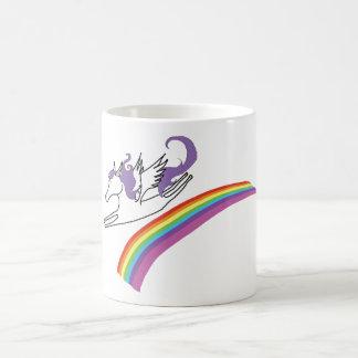 Pegasus over rainbow mug. basic white mug