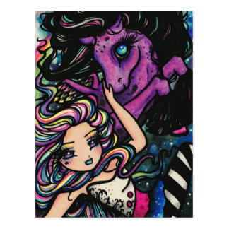 Pegasus Rainbow Galaxy Star Fairy Fantasy Art Girl Postcard