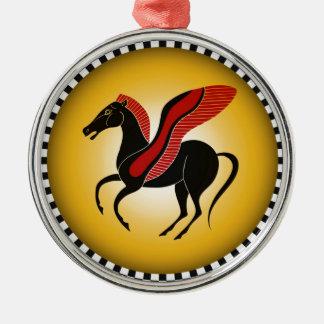 Pegasus Silver-Colored Round Decoration
