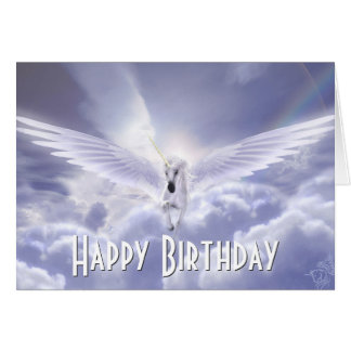 Pegasus Unicorn Happy Birthday Greeting Card
