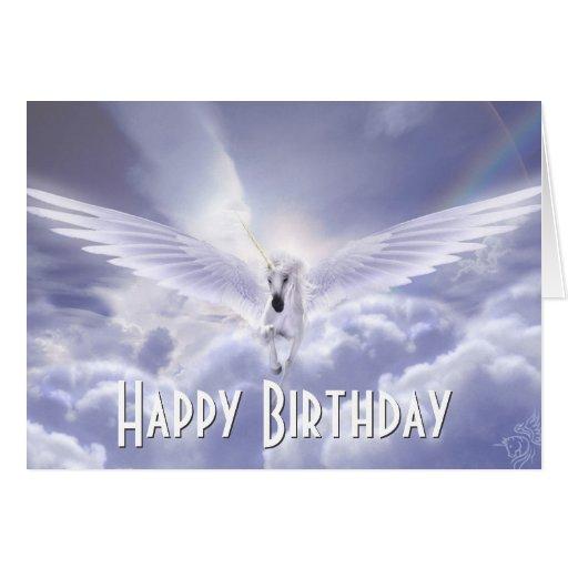 Pegasus Unicorn Happy Birthday Greeting Card
