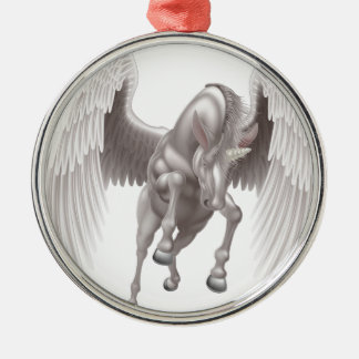Pegasus Unicorn Winged Horned Horse Silver-Colored Round Decoration