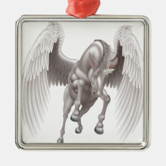 Pegasus Unicorn Winged Horned Horse Silver-Colored Square Decoration
