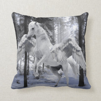 Pegasus Winged Flying Horse Forest Snow Cushion