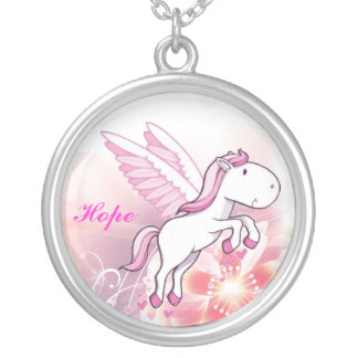 Pegasus Winged Horse - Hope Silver Plated Necklace