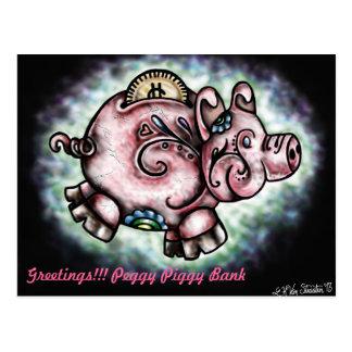 Peggy Piggy Bank Postcard