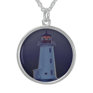 Peggy's Cove Lighthouse Customizable Necklace blue