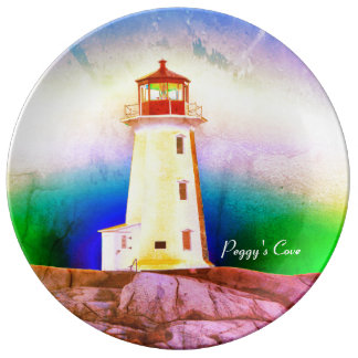 """Peggy's Cove"""" Lighthouse ""Lighthouse green blue Plate"