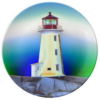 """""""Peggy's Cove"""""""" Lighthouse """"Lighthouse Route"""" Porcelain Plates"""