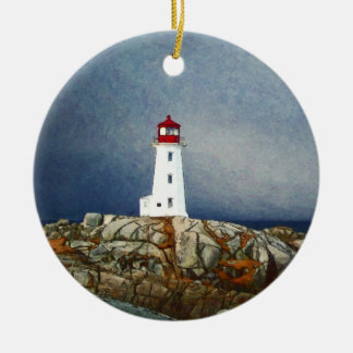 Peggys Cove Lighthouse Painting by Shawna Mac Christmas Ornament
