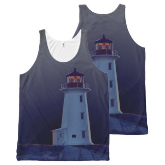 Peggy's Cove  Lighthouse Route Nova Scotia blue All-Over Print Tank Top