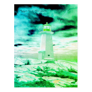 Peggy's Cove  Lighthouse Route Nova Scotia green Postcard