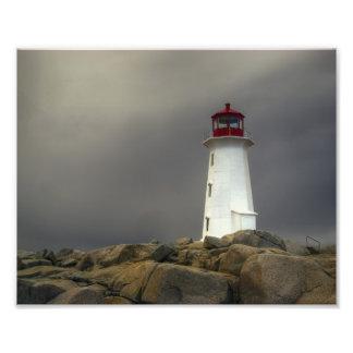 Peggys Cove Lighthouse - Spring Storm Nova Scotia Photograph