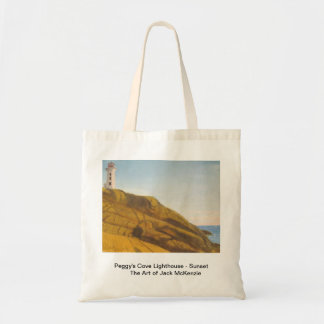 Peggys Cove Lighthouse - Sunset Budget Tote Bag