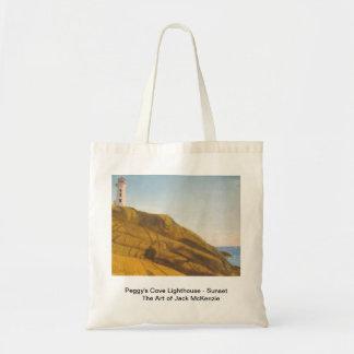 Peggys Cove Lighthouse - Sunset Budget Tote Bag