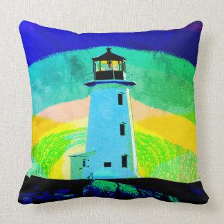 """""""Peggy's Cove Nova Scotia""""""""Lighthouse blue pillow"""