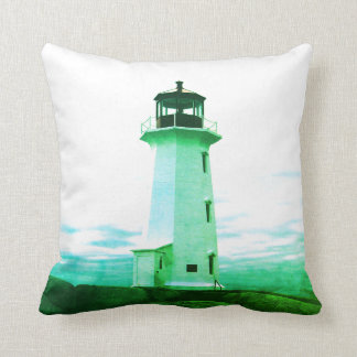 """Peggy's Cove Nova Scotia""""Lighthouse green Cushion"