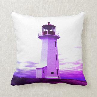 """Peggy's Cove Nova Scotia""""Lighthouse purple Cushion"