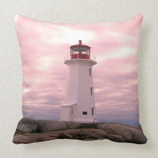 """Peggy's Cove Nova Scotia""""Lighthouse Route"" pink Cushion"