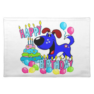 PEGUI Pups Happy Birthday - Blue Placemat