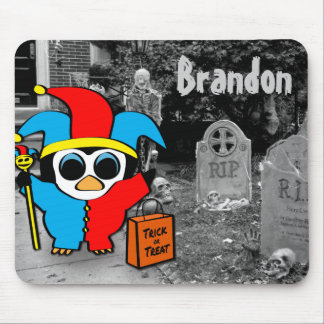 Peguin in Jester Costume Trick or Treat Mouse Pad