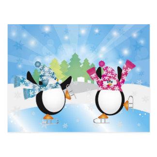 Peguins Figure Skating Postcard
