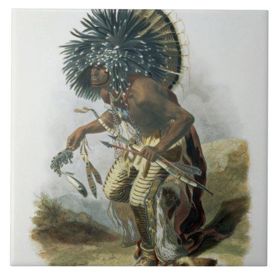Pehriska-Ruhpa, Minatarre Warrior in the Costume o Large Square Tile