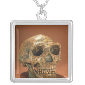Peking Man's reconstructed skull Silver Plated Necklace