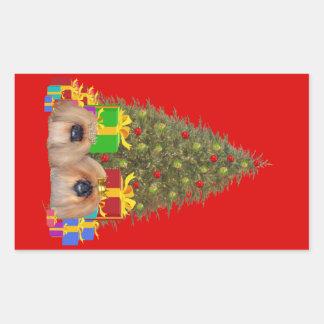 Pekingese at the Tree Rectangular Sticker
