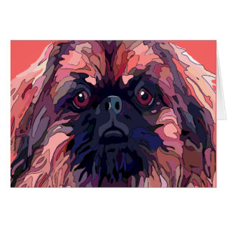 Pekingese Bright Colors Greeting Cards