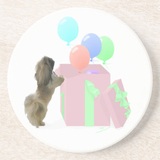 Pekingese Celebration Balloons Beverage Coaster