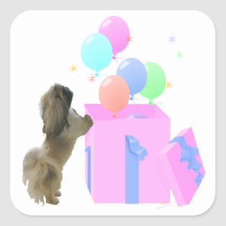 Pekingese Celebration Balloons Square Sticker