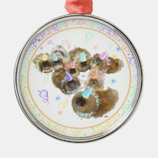 Pekingese Celebration Group Silver-Colored Round Decoration
